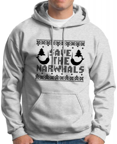 Save The Narwhals Faux Ugly Christmas Sweater Hoodie Sweatshirt Small Ash