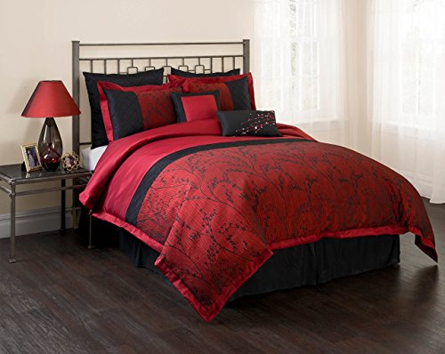 Unique Home Queen Burgundy Black Comforter Set, 7 Piece, Laticia Leaf