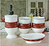 European Red Roses Embossed Ceramic Bathroom Four-Pieces Set - Bathroom Accessories - Fashion Wash Suit