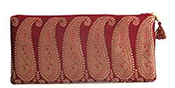 Needlecrest Women Paisley Saree Clutch, Mobile Pouch Ladies Purse (Burgundy Color)
