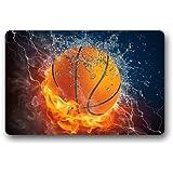 "CozyBath Basketball Sports Non-woven Fabric 23.6""(L) x 15.7""(W)Machine-washable Indoor/Outdoor/Shower/Bathroom Doormat"