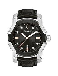 Bulova Men's 98D117 Diamond Black Dial Strap Watch