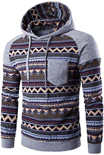 jeansian Uomo Pop Retro Tessere Maglieria Maglione Felpa con Cappuccio Sweater Hoodie 88H7 LightGray M