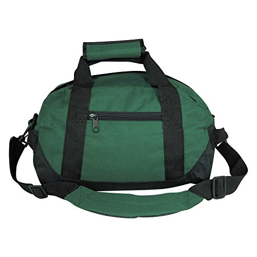 14″ Small Duffle Bag Two Toned Gym Travel Bag in Dark Green image
