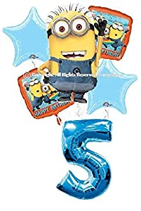 Despicable me minions 5th birthday balloons for Number 5 decorations
