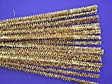 25 Gold Tinsel Pipe Cleaners Glitter Craft Pipecleaners