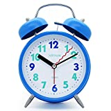 "JCC 4"" Twin bell Quartz Analog Silent non ticking sweep second hand bedside alarm clock with Nightlight and Loud Alarm (Blue)"