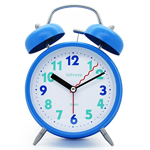 JCC 4 Twin bell Quartz Analog Silent non ticking sweep second hand bedside alarm clock with Nightlight and Loud Alarm (Blue)
