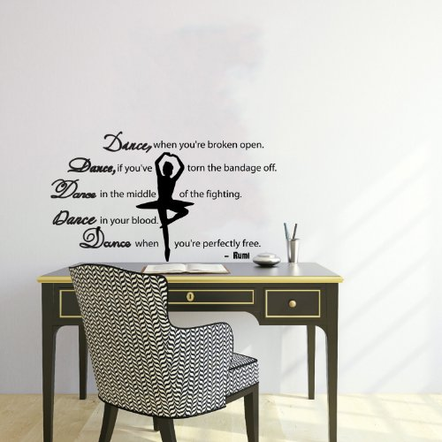 Housewares Wall Vinyl Decal Quote About Dance Life Ballet With Dancer Ballerina Home Art Decor Kids Nursery Removable Stylish Sticker Mural Unique Design For Any Room back-567055