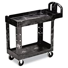 "Rubbermaid Commercial Structural Resin Service Cart with Lipped Shelves, 2 Shelves, Black, 500 lbs Capacity, 33-1/3"" Height, 45-1/4"" Length X 25-7/8"" Width"
