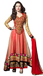 Golden And Red Georgette Anarkali Dress Material by Bansi Fashion