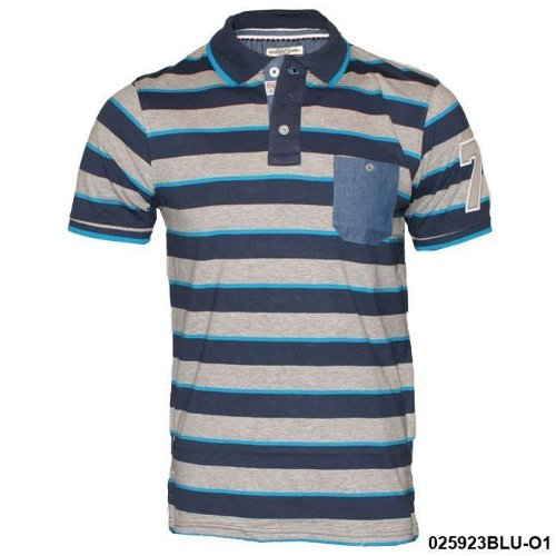 Mens Brave Soul Blue Striped Polo T-Shirt O2 Size Small
