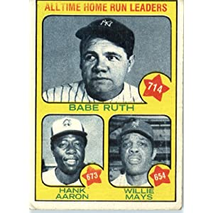 1973 Topps # 1 Hank Aaron / Babe Ruth / Willie Mays Home Run Leaders Baseball Card - In a protective screwdown case!