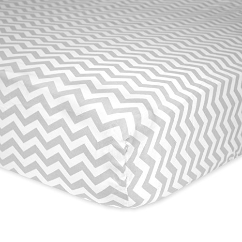 Carter's Cotton Fitted Crib Sheet, Smoke Grey Chevron - 1