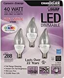 Feit 4.8 Watt = 40 Watts LED Candelabra Light Bulbs 3-Pack 3000K