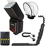 Big Mike's 690EX Pro Series Digital DSLR Dedicated Camera Flash Kit for Canon Digital EOS Rebel SL1, T1i, T2i, T3, T3i, T4i, T5, T5i EOS 60D, EOS 70D, 50D, 40D, 30D, EOS 5D, EOS 5D Mark III, EOS 6D, EOS 7D, EOS 7D Mark II, EOS-M Digital SLR Cameras