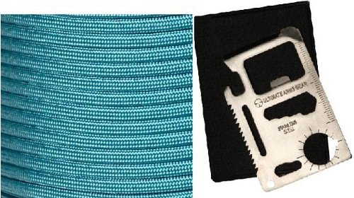 Ultimate Arms Gear Turquoise 50' Feet Military Gi Nylon Type Iii Specification 550 Lbs 7 Strand Heavy Duty Utility Braided Paracord Survival Parachute Tactical Para Cord Rope Made In The U.S.A. + 11-In-1 Multi Functional Purpose Function Credit Card Size