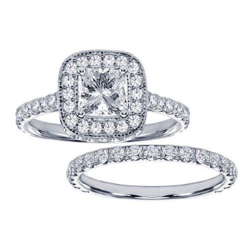 Diamond Encrusted Princess Cut Engagement Ring Bridal Set  14k White Gold