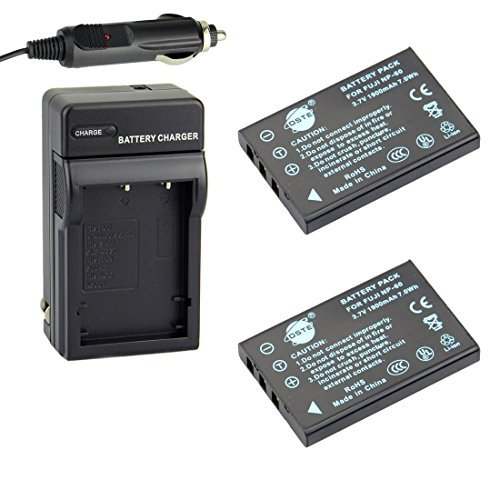DSTE Replacement for 2X NP-60 Li-ion Battery + DC29 Charger Kit Compatible Fujifilm Finepix 50i 601 F401 F401 Zoom F410 F410 Zoom F601 F601 Zoom M603 M603 Zoom as KLIC-5000