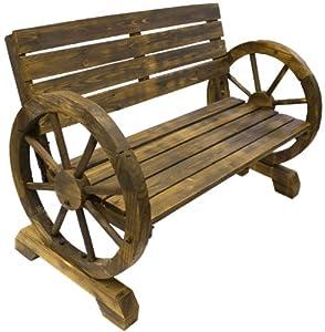 Garden Furniture Wooden Wagon Wheel Style Garden Bench