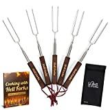 Stylish Holiday Gift - Telescoping Hot Dog & Marshmallow Roasting Sticks By Hell Forks - Multipurpose Fork - 32