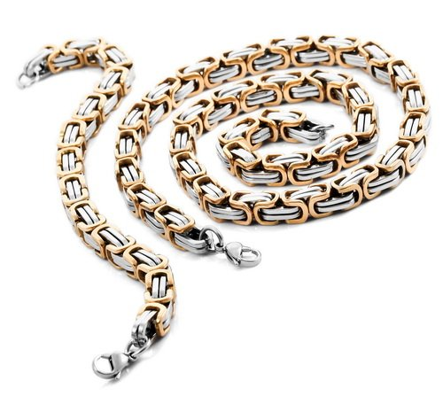 Justeel Men 10MM Silver Gold Stainless Steel Bracelet Necklace Chain Set , with Gift Box, (Width x Length: 0.35 x 21.26 inches)