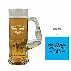 Giftsmate Engraved Worlds Most Awesome Dad Muscolo Beer Mug with Coaster, Gifts for Father, Birthday Gifts for Dad