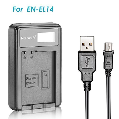 Neewer USB Battery Charger for EN-EL14 Rechargeable Battery for Nikon Coolpix P7000, P7100, D3100, D3200, D3300D5100 D5200 D5300  available at amazon for Rs.1999