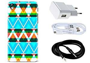 Spygen HTC Desire 816 Case Combo of Premium Quality Designer Printed 3D Lightweight Slim Matte Finish Hard Case Back Cover + Charger Adapter + High Speed Data Cable + Premium Quality Aux