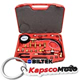 Biltek 0-140 PSI Fuel Injection Pump Injector Tester Test Pressure Gauge Gasoline Cars + KapscoMoto Keychain
