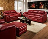 2 pc Jeremy collection cardinal red bonded leather match sofa and love seat set with overstuffed cushions