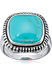 Sterling Silver Simulated Turquoise Square Cushion Ring, Size 7