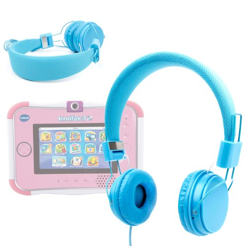 Duragadget Blue Ultra-Stylish Kids Fashion Headphones With Padded Design, Button Remote And Microphone For Vtech Innotab 3, Vtech Innotab 3S