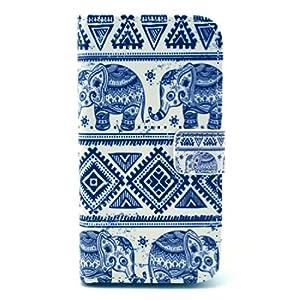 delightable24 Ledertasche Schutzhülle Case Bookstyle für Samsung Galaxy S4 i9500 / i9502 / i9505 Smartphone - Tribe Elephant Edition