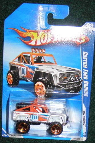 HOT WHEELS 2010 HW RACING WHITE W/ORANGE ROLL BARS 03 OF 10 CUSTOM FORD BRONCO