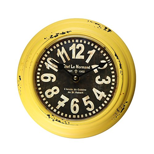 Adeco Yellow Iron Retro Vintage-Inspired Circular Wall Hanging Clock 0