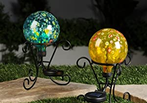Gift Craft 10.4-Inch Solar Colored Glass Gazing Balls with Black Iron Stands, Small (Discontinued by Manufacturer)