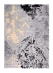 CT RUGS Contemporary Botanical Grey Area Rug 6\'7\'\'x9\'6\'\'