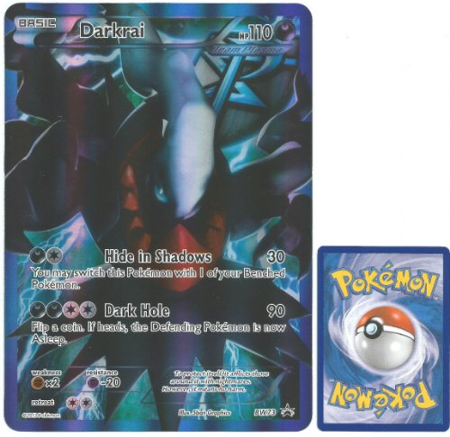 Pokemon Holo Foil Jumbo Size Promo Card Team Plasma Darkrai Full Art BW73 Mint around 6 inch by 9 inch