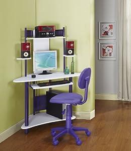 Kings Brand Purple Finish Corner Workstation Kids Children's Computer Desk & Chair from Kings Brand Furniture