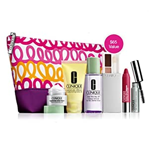 Clinique Official 2013 Winter Gift Set including Repairwear Laser Focus Wrinkle Eye Cream, Dramatically Differnt Moisturizing Lotion+, All About Shadow and More