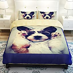 MeMoreCool Home Textile New Cute Dogs Thicken Brushed Bedding Sets Pet Dogs Duvet Cover Boys and Girls Bed Sheets Fade, Stain Resistant - 4 Pieces (Full)
