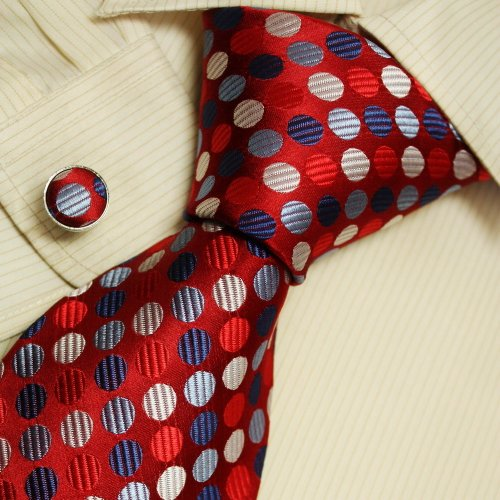 Red Polka Dots Neckties Blue Boyfriends Presents Mens Accessories Ties Cufflinks Set A1126