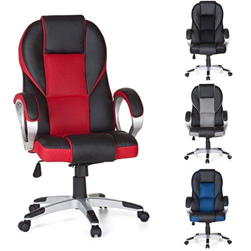 FineBuy-Brostuhl-SPORT-Rot-Gaming-Chefsessel-mit-Armlehne-Racer-Sportsitz-Drehstuhl-Kopfsttze-Racing-Schreibtischstuhl-Gamer-Design-Modern-Drehsessel-mit-Wippfunktion-Synchronmechanik-bis-120KG