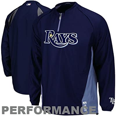 Majestic Tampa Bay Rays Adult Size 3X-Large 3XL On Field Cool Base 1/4 Zip Performance Jacket - XXXL