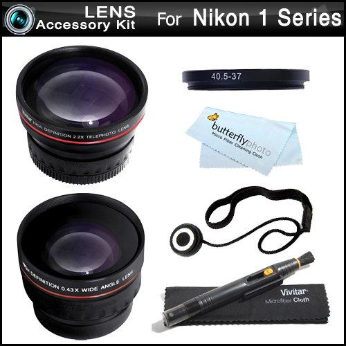 Vivitar Wide Angle Telephoto Lens Kit For Nikon 1 J1, Nikon 1 V1 Mirrorless Digital Camera(That Use 10-30Mm, 30-110Mm, 10Mm Lenses) Includes Hd .45X Wide Angle Lens + 2.2X Telephoto Lens + Lens Pen Cleaning Kit + Cap Keeper + Screen Protectors + More