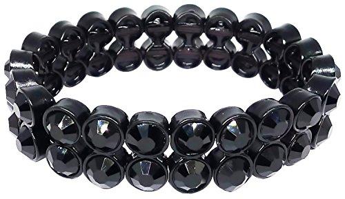 Bijoux De Ja Black Crystal Stretched Bracelet