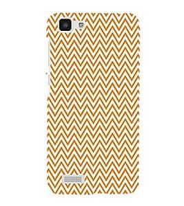 Orange Chevron 3D Hard Polycarbonate Designer Back Case Cover for VIVO Y27L :: Y 27L