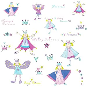 RoomMates Repositionable Childrens Wall Stickers Fairy Princess
