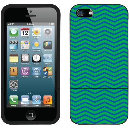 Special Sale Green and Blue Chevron design on a Black iPhone 5s / 5 Slider Case by Coveroo